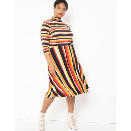 ELOQUII Elements Women's Plus Size Printed Fit and Flare Dress (Photo via Walmart)