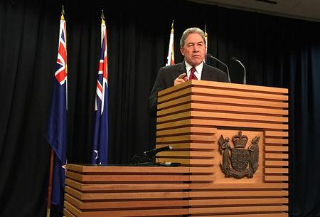 FILE PHOTO - Winston Peters, leader of the New Zealand First Party, speaks during a media conference in Wellington