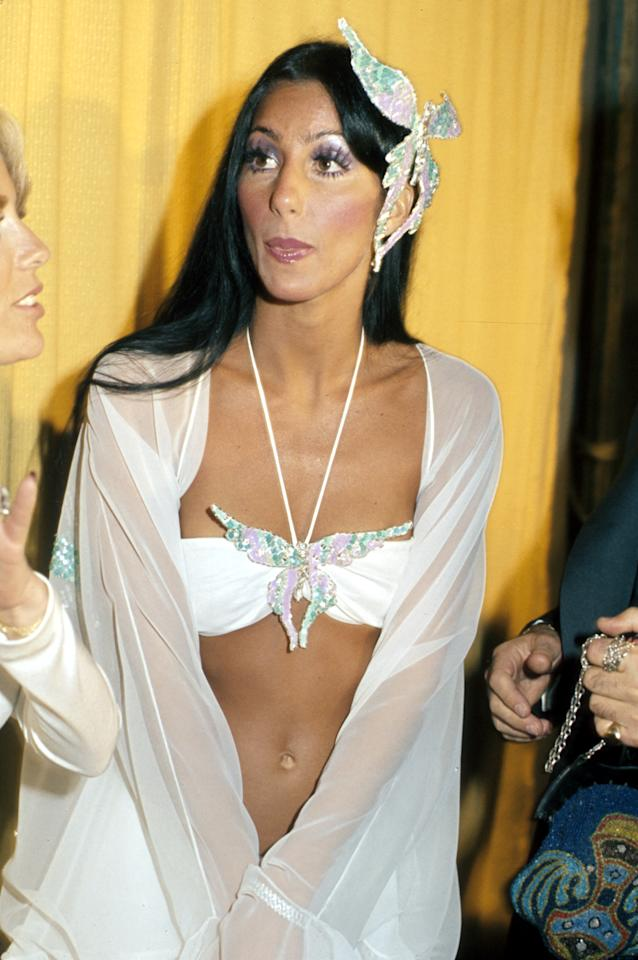 "Cher's butterfly look at the 1974 Grammys represented a metamorphosis for the star, whose husband Sonny Bono had filed for divorce just one month prior. It was the first public event for the 28-year-old star since she wrapped filming the ""Sonny & Cher"" show, as well as her red carpet debut with new boyfriend David Geffen."
