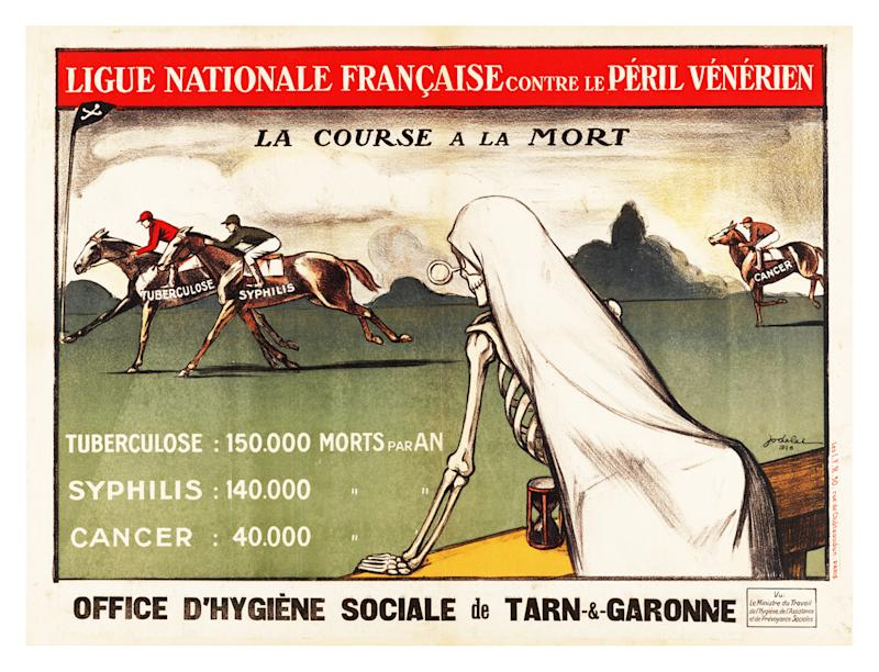 Ligue Nationale Francaise contre le Peril Venerien, France, ca. 1926. Death watches a thoroughbred race of deadly diseases. The statistics below compare the annual mortality rates of tuberculosis, syphilis and cancer. (Photo by: Photo12/Universal Images Group via Getty Images)