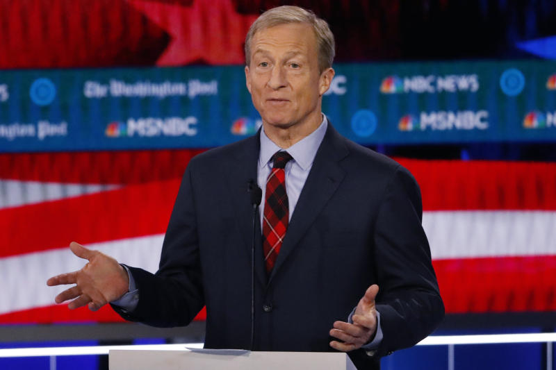 FILE - In this Nov. 20, 2019, file photo, Democratic presidential candidate investor Tom Steyer speaks during a Democratic presidential primary debate in Atlanta. Democrats are narrowing Donald Trump's early spending advantage, with two billionaire White House hopefuls joining established party groups to target the president in key battleground states that are likely to determine the outcome of next year's election. (AP Photo/John Bazemore, File)