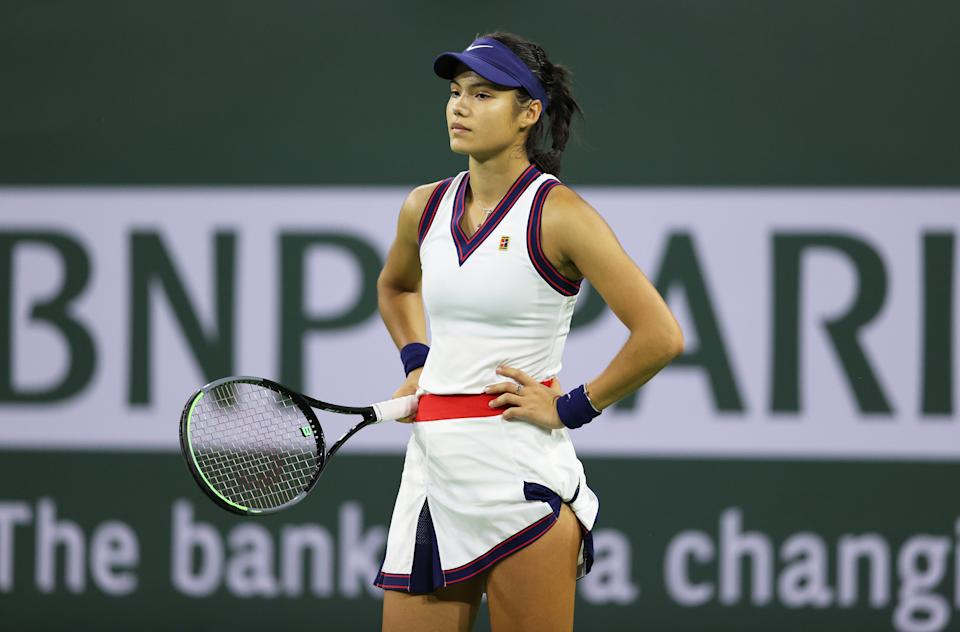 Seen here, Britain's Emma Raducanu looks disappointed during her loss at Indian Wells in 2021.