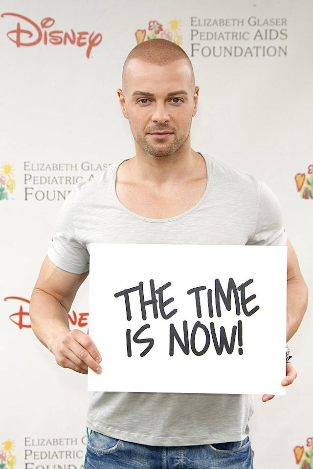 "Sporting a very close shave, Joey Lawrence was also on hand to support the annual event, whose aim is to help create a generation free of HIV. Michael Bezjian/<a href=""http://www.gettyimages.com/"" target=""new"">GettyImages.com</a> - June 13, 2010"