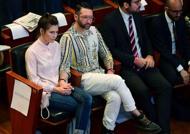 PHOTO: Amanda Knox and Chris Robinson sit at the opening of the 'Criminal Justice Festival' at the Law University of Modena, northern Italy, June 14, 2019. (Vincenzo Pinto/AFP/Getty Images)