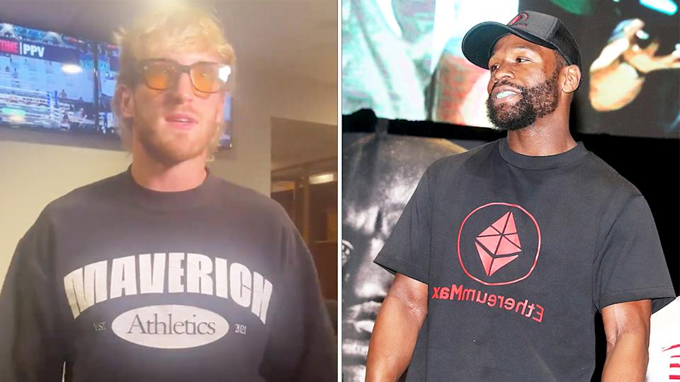 Logan Paul (pictured left) arrives and talks to the cameras ahead of his bout with Floyd Mayweather (pictured right) at weigh-ins.
