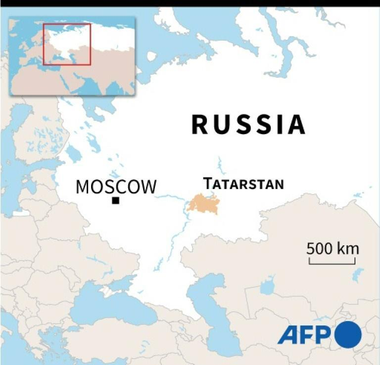 Map locating Tatarstan, in central Russia (AFP/Tupac POINTU)
