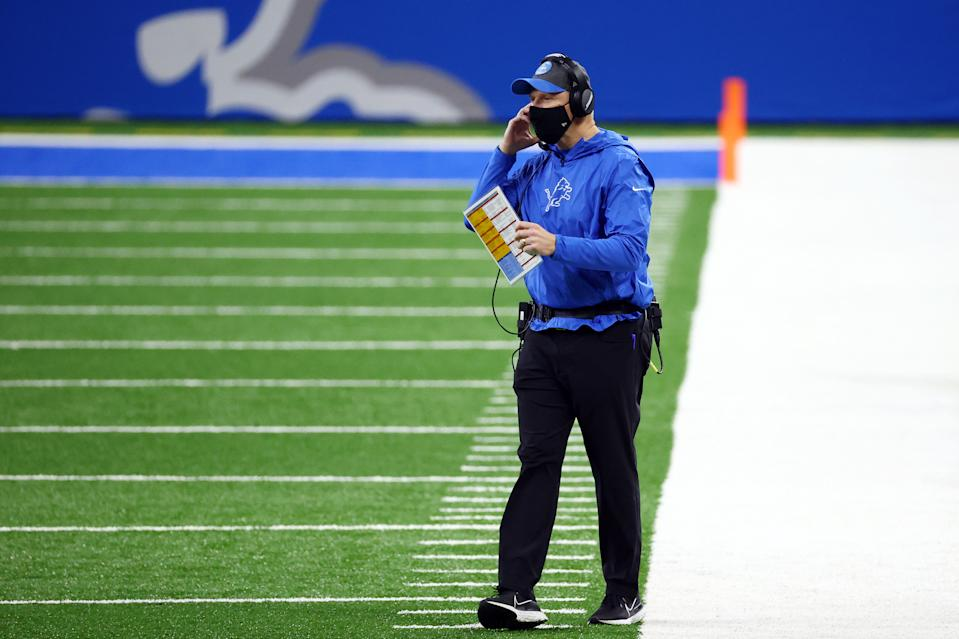 DETROIT, MICHIGAN - DECEMBER 13: Interim head coach Darrell Bevell of the Detroit Lions stands on the sideline during the first half against the Green Bay Packers at Ford Field on December 13, 2020 in Detroit, Michigan. (Photo by Rey Del Rio/Getty Images)