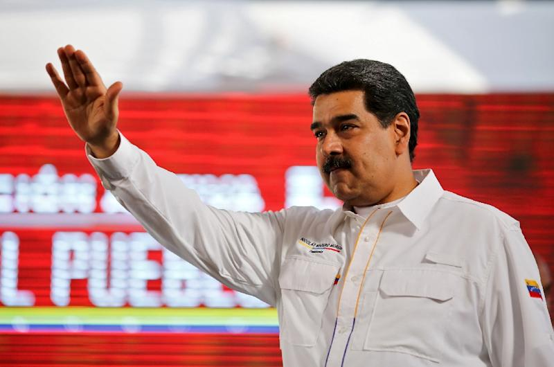 Venezuelan President Nicolas Maduro (pictured February 20, 2019) ordered a shipment of thousands of food boxes to be distributed to the needy along the Colombian border (AFP Photo/Marcelo Garcia)