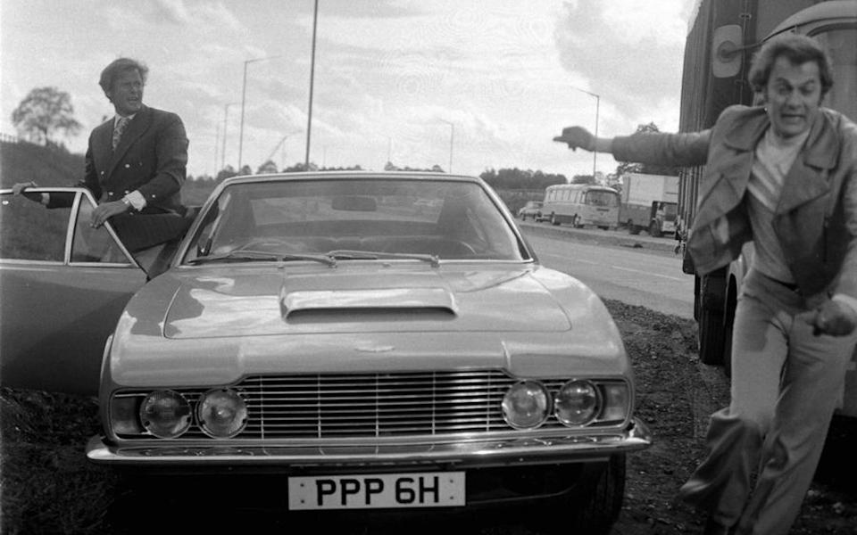 The Persuaders' - 'The Gold Napoleon' - Roger Moore and Tony Curtis with an Aston Martin DBS - ITV/REX/Shutterstock