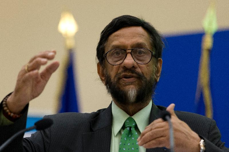 Rajendra Pachauri, pictured on November 5, 2014, was forced to quit as chairman of the Nobel Prize-winning UN Intergovernmental Panel on Climate Change in February 2015 after his colleague filed a sexual harassment complaint