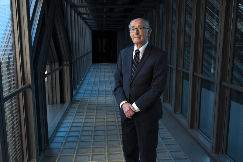 In this Friday, Jan. 17, 2020 photo Auschwitz survivor Marty Weiss poses for a photo at the United States Holocaust Memorial Museum in Washington. (AP Photo/Kevin Wolf)