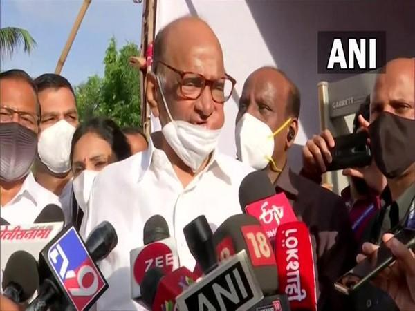 NCP chief Sharad pawar speaking to reporters in Pune on saturday. [Photo/ANI]
