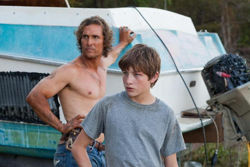 "This film image released by Roadside Attractions shows Matthew McConaughey, left, and Tye Sheridan in a scene from ""Mud."" (AP Photo/Roadside Attractions, Jim Bridges)"
