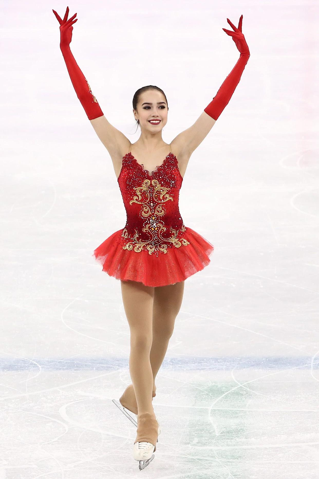 The Russian athlete took home the gold for ladies figure skating, and she definitely deserved it. Not only was her skating phenomenal, her ballet-inspired costumes (like this one,worn for her free skate) were stunning.
