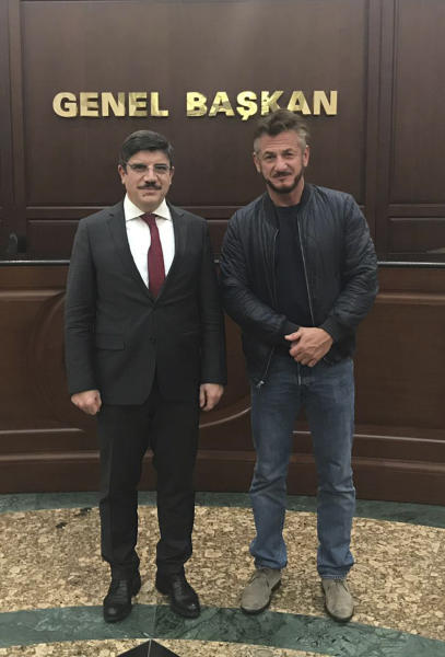 In this Wednesday Dec. 5, 2018 photo made available Thursday by Yasin Aktay, and showing Yasin Aktay an adviser to Turkey's President Recep Tayyip Erdogan, left, with US actor Sean Penn, in Ankara, Turkey. Aktay told The Associated Press Thursday, Dec. 6, 2018, Penn is in Turkey working on a documentary about the slaying of journalist Jamal Khashoggi at the Saudi consulate on Oct. 2 in Istanbul. Aktay, who was a friend of Khashoggi's, was the first to alert authorities that the journalist had disappeared after entering the consulate. (Handout via AP)