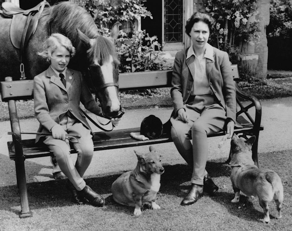 Queen Elizabeth and Princess Anne after a day of riding.