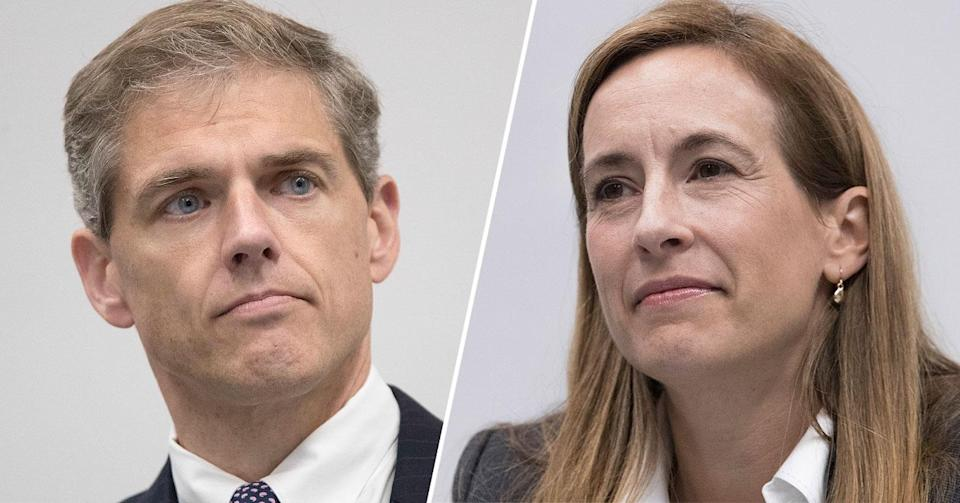 Republican New Jersey Assemblyman Jay Webber, Democratic congressional candidate Mikie Sherrill (Photos: Mary Altaffer/AP)