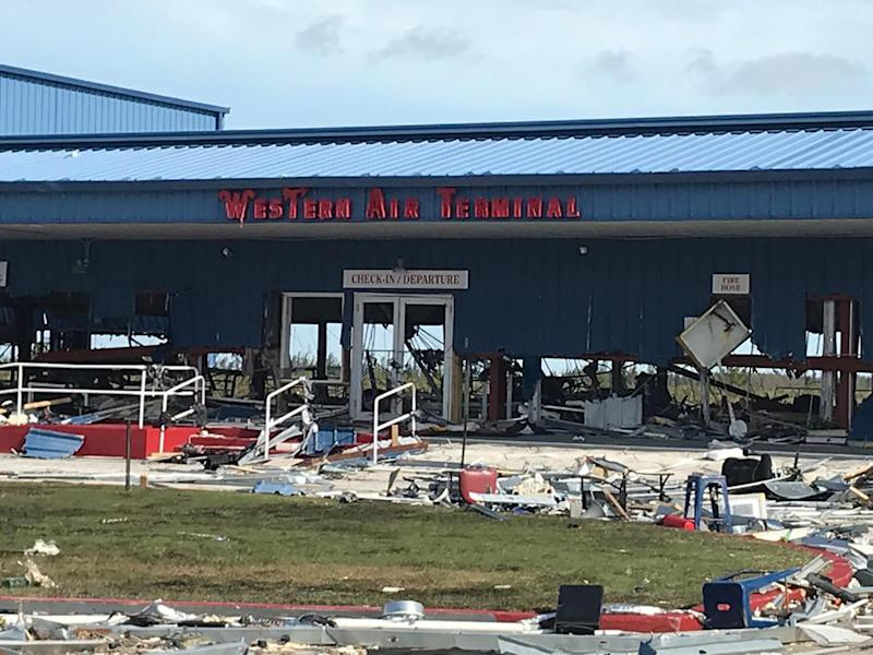 Debris left by Hurricane Dorian litters Grand Bahama International Airport in Freeport, on Sept. 4, 2019. (Photo: Yasmin Rigby/AFP/Getty Images)