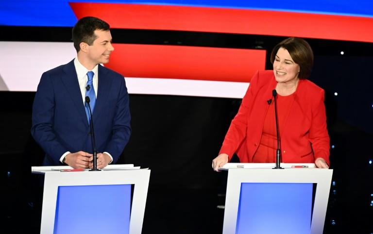 Former South Bend, Indiana mayor Pete Buttigieg is seeking to remain in the top tier of US Democratic presidential candidates, while Senator Amy Klobucher is struggling to climb into it (AFP Photo/Robyn Beck)