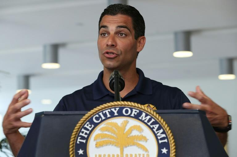Miami Mayor Francis Suarez, seen speaking to reporters on May 29, 2019, is pushing hard to make his Florida city a major technological hub