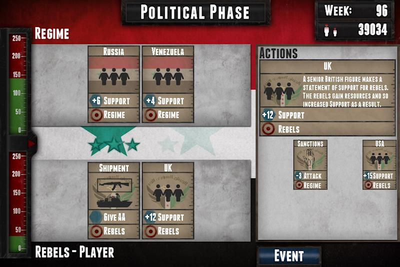 "This undated image provided by Auroch Digital Ltd. shows the video game ""Endgame: Syria."" The new video game based on Syria's civil war seeks to illustrate the hard choices facing the country's rebels. The game's British developer hopes it will inform people about the nearly two-year old conflict, but reactions have been mixed. (AP Photo/Auroch Digital Ltd.)"
