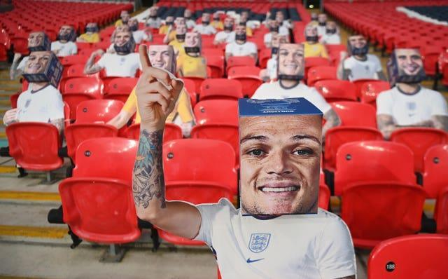 A Bud Light boxhead of Kieran Trippier is seen at Wembley prior to the 2022 World Cup qualifier against Poland in March