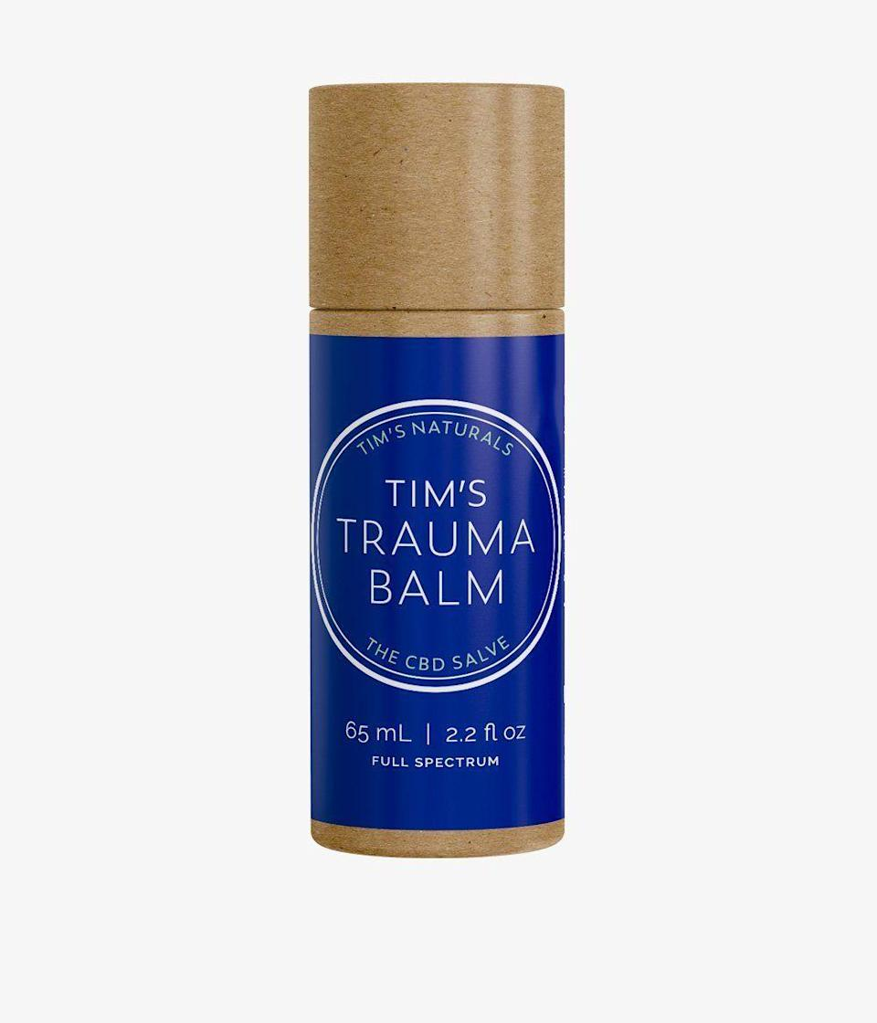 """<p><strong>Tim's Naturals</strong></p><p>timsnaturals.com</p><p><strong>$50.00</strong></p><p><a href=""""https://timsnaturals.com/collections/all-products/products/tims-trauma-balm-tube"""" rel=""""nofollow noopener"""" target=""""_blank"""" data-ylk=""""slk:Shop Now"""" class=""""link rapid-noclick-resp"""">Shop Now</a></p><p>You never know when you might tweak something on the trail, making this plant-based CBD stick a must-pack for on-the-go recovery. The formula uses organic Fair Trade ingredients said to soothe sore muscles, joints, and bruises.</p>"""