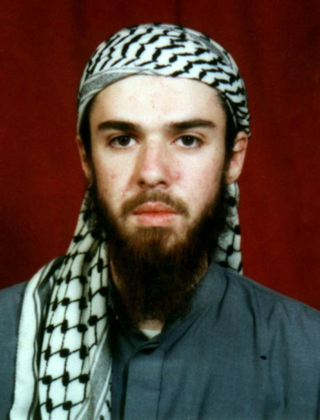 FILE - American John Walker Lindh is seen in this undated file photo obtained Tuesday, Jan. 22, 2002, from a religious school where he studied for five months in Bannu, 304 kilometers (190 miles) southwest of Islamabad, Pakistan. Lindh, the young Californian who became known as the American Taliban after he was captured by U.S. forces in the invasion of Afghanistan in late 2001, is set to go free Thursday, May 23, 2019, after nearly two decades in prison. (AP Photo, File)