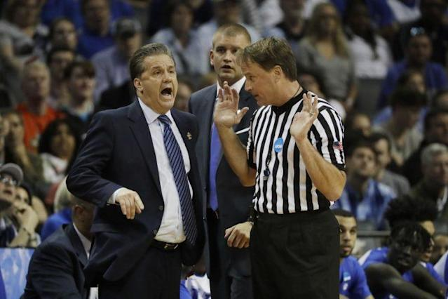 Referee John Higgins has taken heat from Kentucky nation, including head coach John Calipari, after the Wildcats' loss on Sunday. (AP)