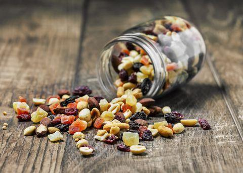 <p>With a sweet-crunchy combo, this trail mix delivers a good balance of carbs, protein and healthy fats; the mint adds a refreshing taste of summer. Bonus: Pumpkin seeds are a source of the amino acid tryptophan, which helps regulate sleep patterns.</p><p><strong>Ingredients: </strong><br>1 cup beet chips, such as bare<br>1 cup apple chips, such as bare<br>1/2 cup coconut chips<br>1/2 cup sliced dried mango<br>1/2 cup unsalted roasted almonds<br>1/3 cup unsalted pumpkin seeds<br>1/3 cup dark chocolate chips<br>1/4 cup chopped fresh mint</p><p><strong>Directions: </strong>Place all the ingredients in a bowl and toss to combine. <em>Makes 6 servings</em><br></p>