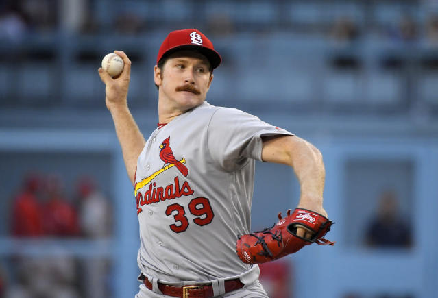 St. Louis Cardinals starting pitcher Miles Mikolas throws during the first inning of the team's baseball game against the Los Angeles Dodgers on Tuesday, Aug. 6, 2019, in Los Angeles. (AP Photo/Mark J. Terrill)