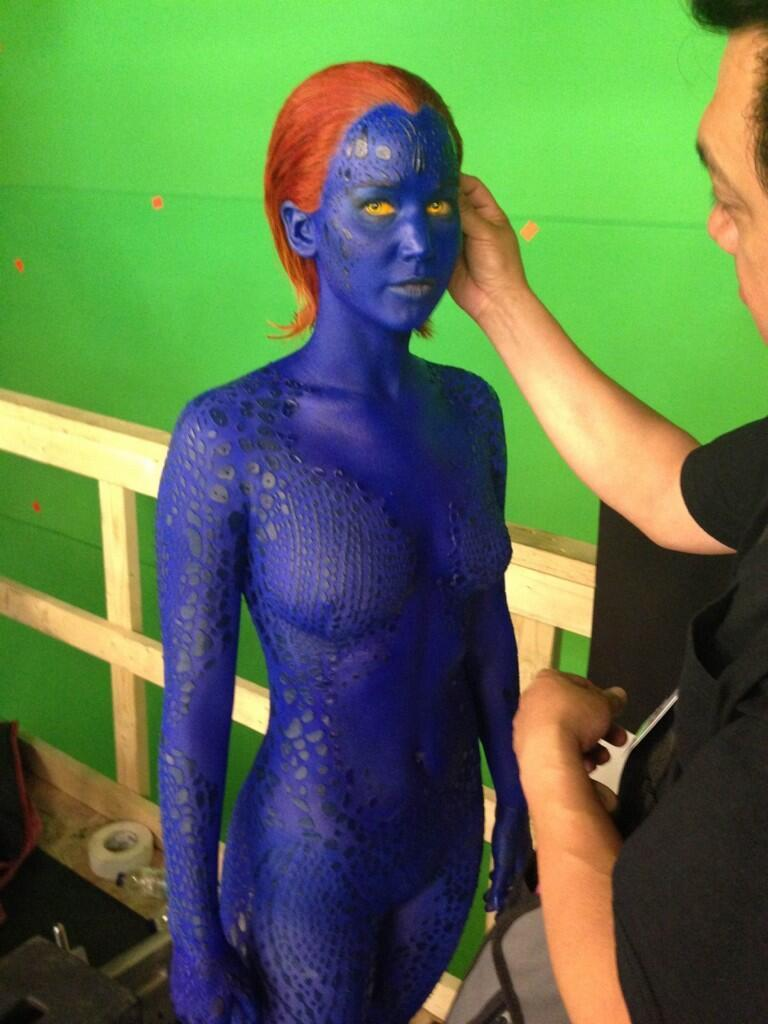 Jennifer Lawrence Is Blue and in the Buff Again for 'X-Men: Days of Future Past' (Photo)