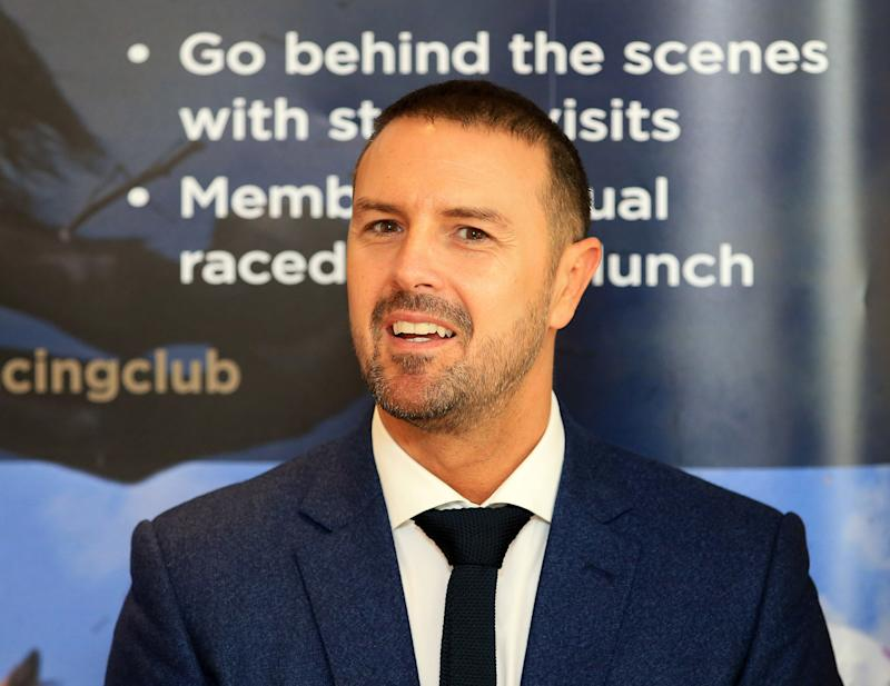 Paddy McGuinness attends the official launch of The Jockey Club Haydock Park Racing Club during 32Red Sprint Cup Day at Haydock Park Racecourse.