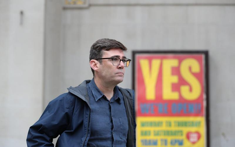 "The Mayor of Manchester Andy Burnham said Greater Manchester leaders have ""unanimously rejected"" the city going into a Tier 3 lockdown without an 80 per cent guaranteed income support for those affected - Getty Images Europe"