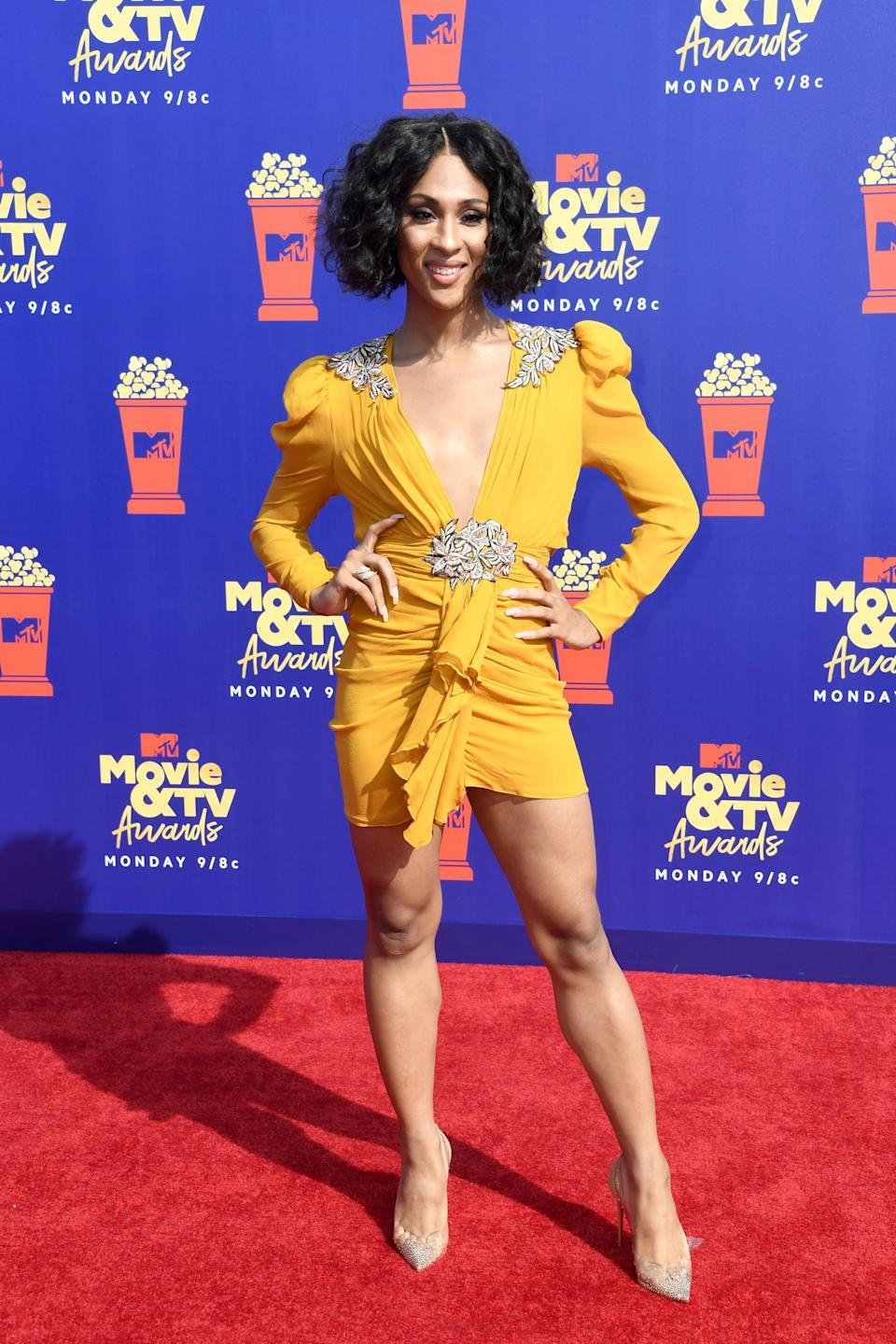 <p>Mj's outfit was finished with Anita Ko jewelry and Christian Louboutin pumps at the 2019 MTV Movie and TV Awards.</p>