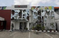 A view shows a damaged Sterling Bank in Lagos