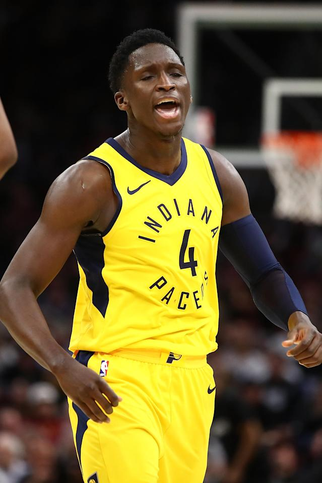 CLEVELAND, OH - APRIL 15: Victor Oladipo #4 of the Indiana Pacers reacts to a fourth quarter three point basket while playing the Cleveland Cavaliers in Game One of the Eastern Conference Quarterfinals during the 2018 NBA Playoffs at Quicken Loans Arena on April 15, 2018 in Cleveland, Ohio. Indiana won the game 98-80 to take a 1-0 series lead. (Photo by Gregory Shamus/Getty Images)