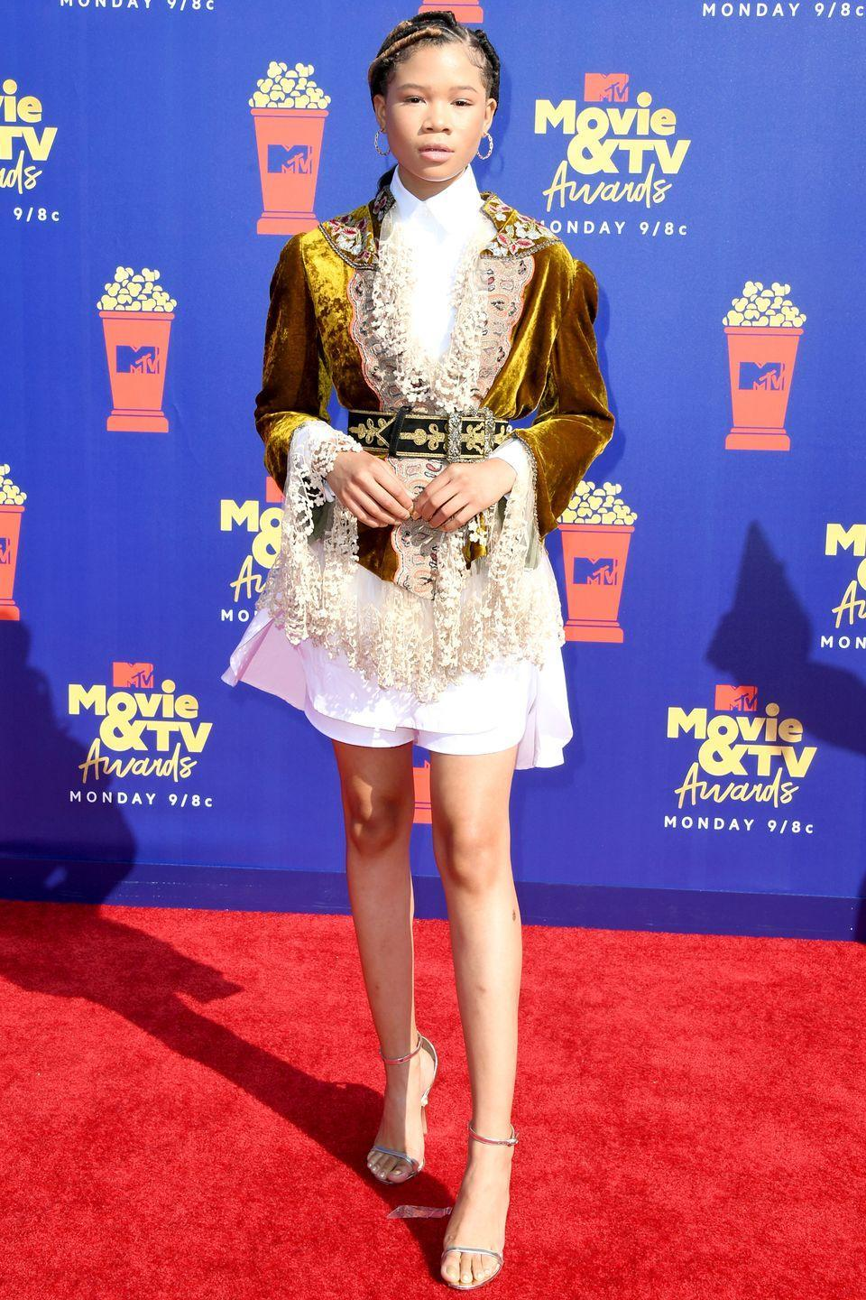 <p>Who: Storm Reid </p><p>When: June 15, 2019</p><p>Wearing: Etro, David Yurman jewels</p><p>Why: Storm Reid was a modern royal at the MTV Movie and TV Awards in Santa Barbara, California this week. Her crushed velvet jacket was a smart choice to contrast over a crisp white dress. </p>