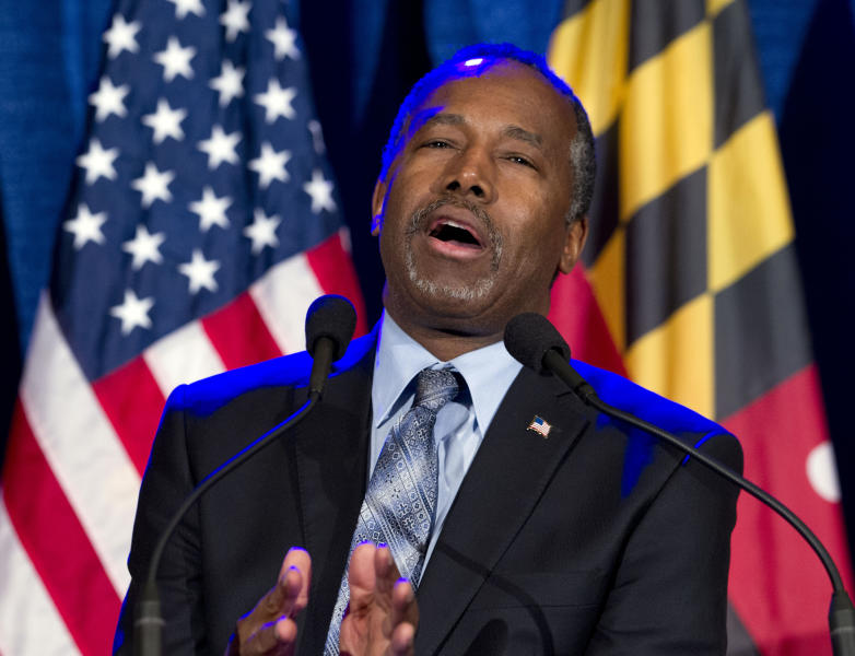 FILE - IN this March 1, 2016, file photo, then-Republican presidential candidate retired neurosurgeon Ben Carson speaks during an election night party in Baltimore. Carson's story of growing up in a single-parent household and climbing out of poverty to become a world-renowned surgeon was once ubiquitous in Baltimore, where Carson made his name. But his role as Housing and Urban Development Secretary in the Trump Administration has added a complicated epilogue, leaving many who admired him feeling betrayed, unable to separate him from the politics of a president widely rejected by African Americans here. ( AP Photo/Jose Luis Magana, File)