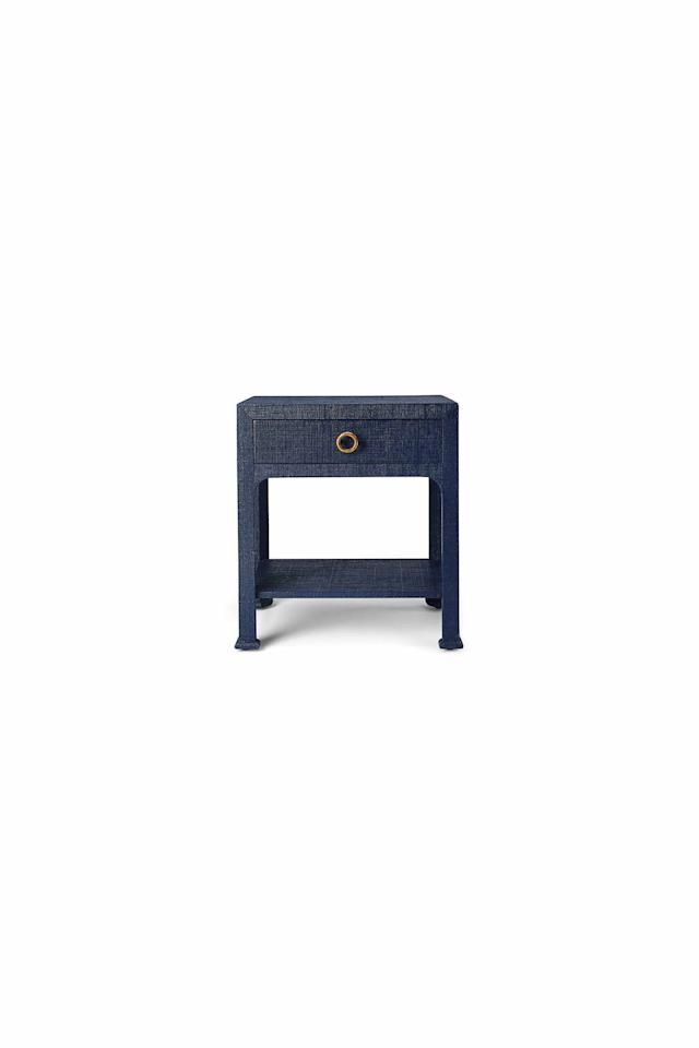 """<p><strong>one kings lane</strong></p><p>onekingslane.com</p><p><a href=""""https://www.onekingslane.com/p/4816299-kos-1-drawer-raffia-nightstand-navy.do"""" target=""""_blank"""">Shop Now</a></p><p><em>$475 (originally $595)</em></p><p>Any fashionista would appreciate this nightstand's eye-catching denim look. Plus, it's complete with a spacious drawer and a brass pull.  </p>"""