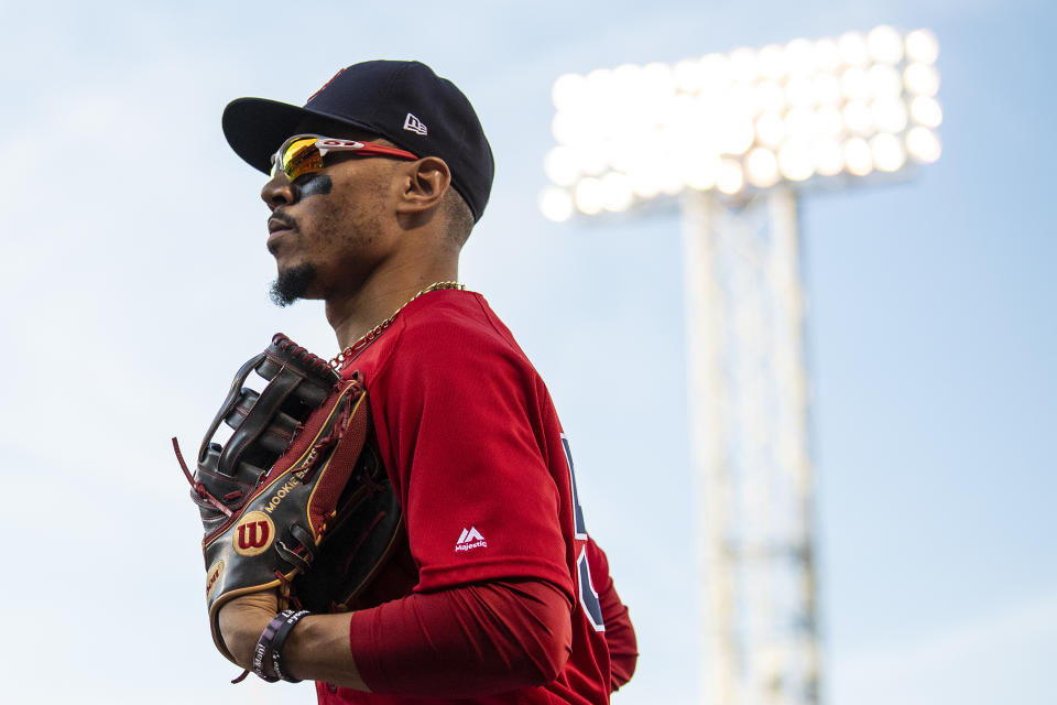 BOSTON, MA - SEPTEMBER 28: Mookie Betts #50 of the Boston Red Sox runs into the dugout during the fifth inning of a game against the Baltimore Orioles on September 28, 2019 at Fenway Park in Boston, Massachusetts. (Photo by Billie Weiss/Boston Red Sox/Getty Images)