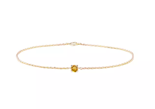 """<h2>November: Citrine</h2><br>""""Citrine has become very popular in mainstream culture due to its """"solar"""" or yang properties, bringing vitality, joy, and more than anything, abundance through creativity,"""" says Montúfar. Wear it when you need a lift.<br><br><strong>Klenota</strong> Citrine Bracelet, $, available at <a href=""""https://www.klenota.com/Women-s-Bracelets/Citrine-bracelet-in-yellow-gold"""" rel=""""nofollow noopener"""" target=""""_blank"""" data-ylk=""""slk:Klenota"""" class=""""link rapid-noclick-resp"""">Klenota</a>"""