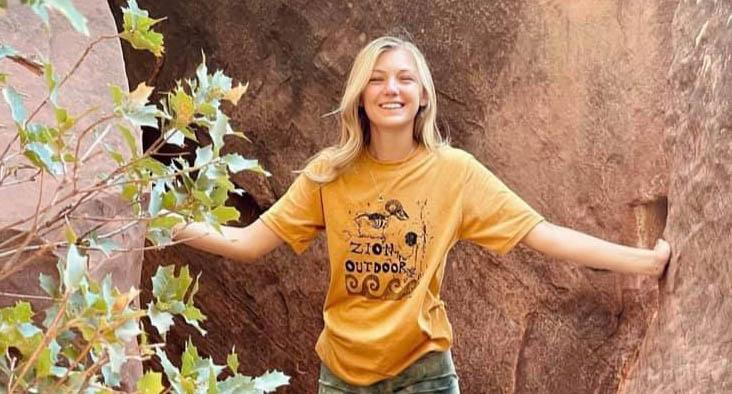 A photo of Gabby Petito, 22, who set out on a road trip with her boyfriend in a converted camper van in early July to tour National Parks, according to her family, but she disappeared in late August.