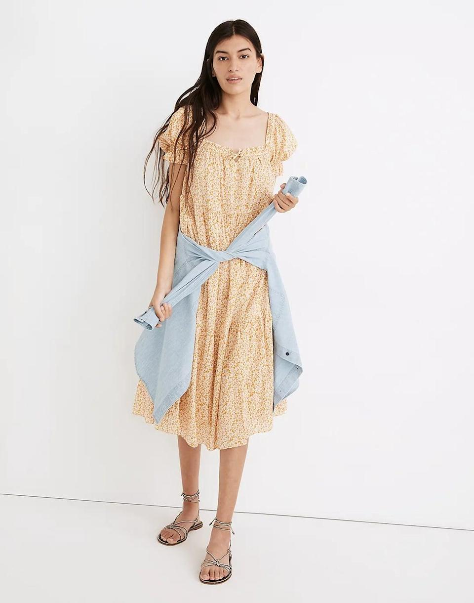 <p>This <span>Madewell Square-Neck Tiered Midi Dress</span> ($128) is designed for an easy fit with its floaty tiers, square neck, and subtle bow detail. It's so comfortable and stylish, you'll reach for it for almost every summer occasion.</p>