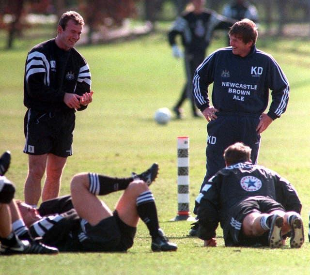 Alan Shearer (left) and Kenny Dalglish in Newcastle training