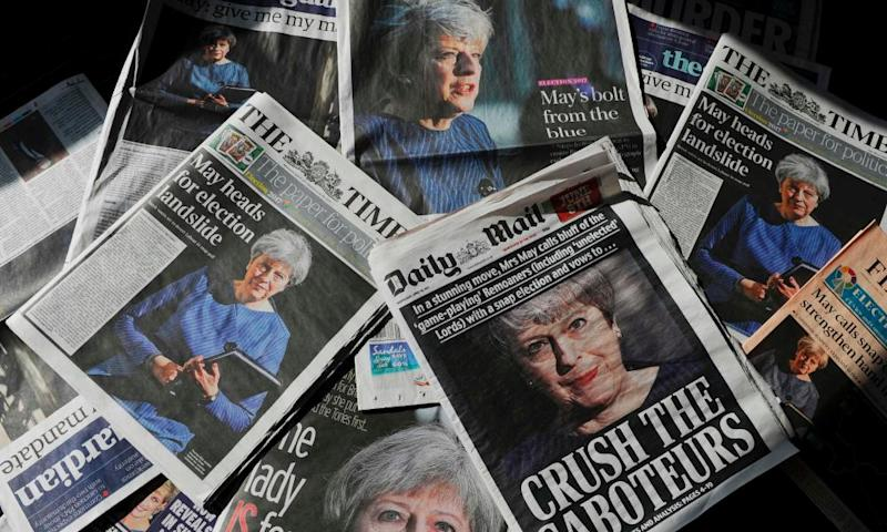 The front pages of UK newspapers after Theresa May's snap election call