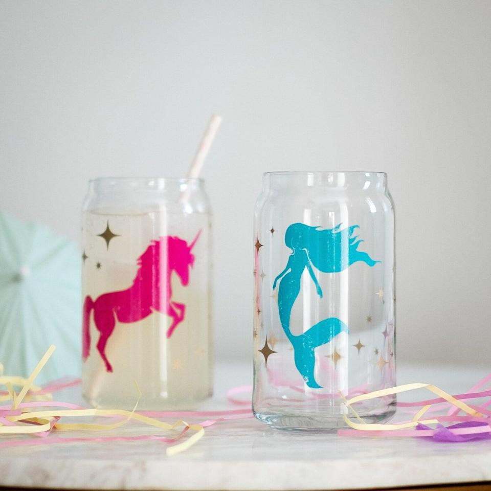 <p>If they have the most whimsical vibe and love everything majestic, they'll obsess over these <span>Mermaid &amp; Unicorn Can Glasses</span> ($30 for two). They can use them for their iced coffees and refreshing drinks.</p>