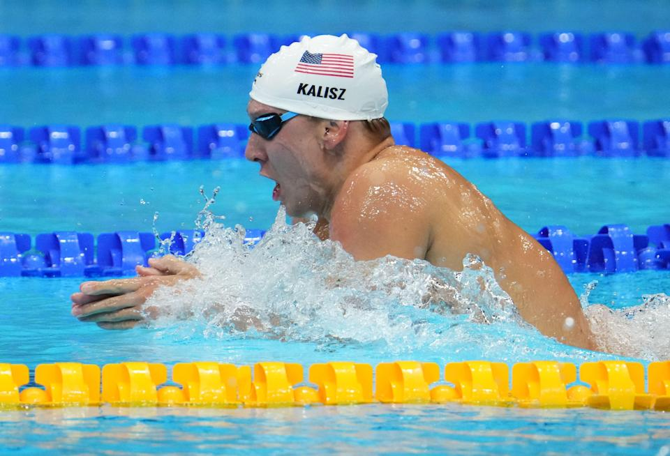 Chase Kalisz powers his way to the gold medal in the men's 400m individual medley final at Tokyo Aquatics Centre.