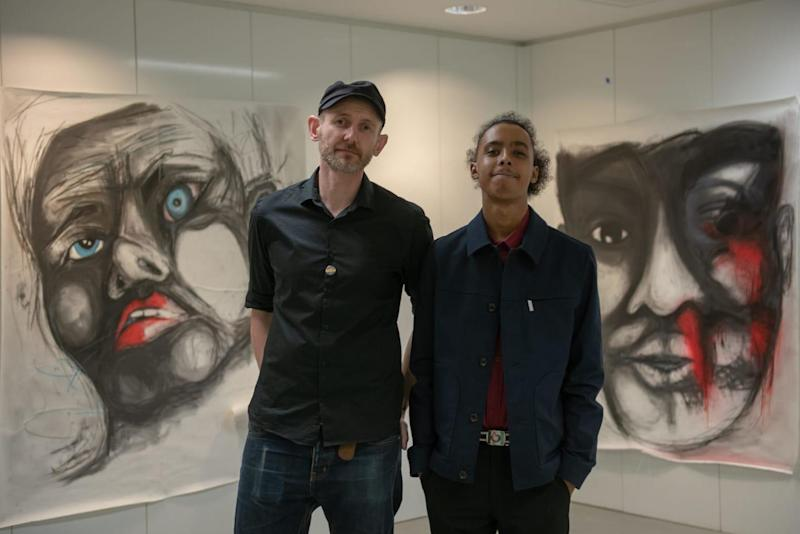Jamal with artist David Tovey, who became a fan of his art