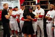 <p>Meghan meets her distant cousin Mookie Betts ahead of the Boston Red Sox game against the New York Yankees at London Stadium.</p>